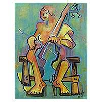 'Symphony Collection: Cello' - Brazilian Cubist Nude Playing a Cello Portrait Painting
