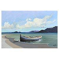 'Boat in the Quiet Bay' - Original Signed Brazilian Seascape Painting