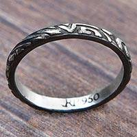 Silver band ring, 'Love's Texture' - Original Textured Band Ring Brazilian 950 Silver Jewelry