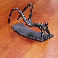 Bronze sculpture, 'Ipanema Sunbather' - Bronze Sculpture of Sunbather from Brazil