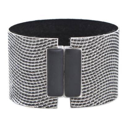 Textured Black and White Wristband Bracelet from Brazil
