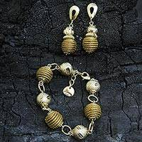 Gold accent golden grass jewelry set, 'Golden Brazil' - 18k Gold Accent Golden Grass Bracelet and Earrings Set