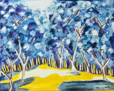 'Blue Forest'  (2016) - Brazilian Impressionist Painting of a Mysterious Blue Forest