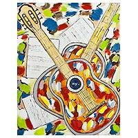'Guitars III' - Multicolored Impressionist Painting of Guitars from Brazil