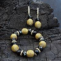 Gold plated golden grass jewelry set, 'Brazilian Harmony' - Golden Grass Black Beads Earrings and Bracelet Jewelry Set
