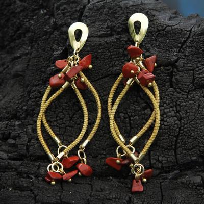 Artisan Crafted Golden Grass and Jasper Chandelier Earrings