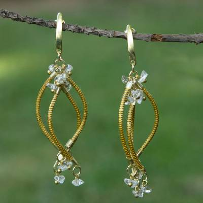 Gold plated golden grass and quartz chandelier earrings, Natural Chimes