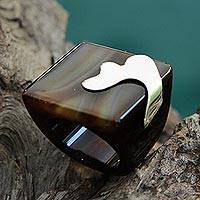 Sterling silver accent agate signet ring, 'Planetary Waves' - Agate and Sterling Silver Square Signet Ring from Brazil