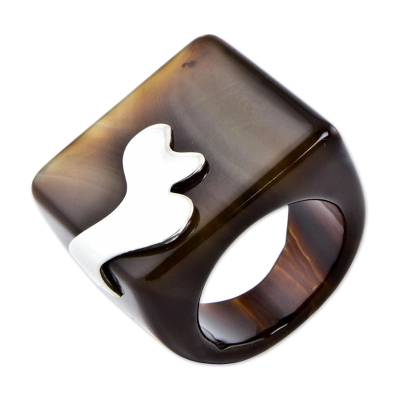 Agate and Sterling Silver Square Signet Ring from Brazil