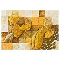 'Refuge' (2012) - Modern Brazilian Expressionist Painting of Autumn Leaves