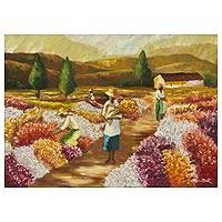 'Harvest of Flowers' - Impressionistic Portrait of a Brazilian Flower Harvest
