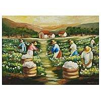 'Harvest of Cotton - Original Impressionistic Painting of Brazil's Cotton Harvest