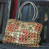 Bamboo accent shoulder bag,