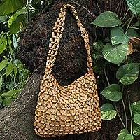 Bamboo accent shoulder bag, 'Lattice Connection' - Handcrafted Bamboo Accent Shoulder Handbag from Brazil