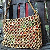 Bamboo accent shoulder bag, 'Floral Lattice' - Handcrafted Bamboo Accent Floral Shoulder Bag from Brazil