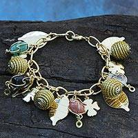 Gold plated agate and golden grass charm bracelet, 'Clover Leaves' - Gold Plated Brazilian Agate and Golden Grass Charm Bracelet