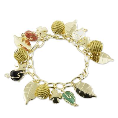 Unique Agate Brazilian Golden Grass Leaf and Clover Charm Bracelet