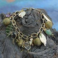 Gold plated amethyst and golden grass charm bracelet, 'Clover Leaves' - Gold Plated  Amethyst and Golden Grass Clover Charm Bracelet