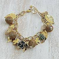 Gold plated citrine and agate charm bracelet, 'Clover Leaves' - Gold Plated Agate and Citrine Charm Bracelet from Brazil