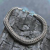 Men's stainless steel chain bracelet, 'Strength Chain' - Stainless Steel Men's Simple Chain Bracelet from Brazil