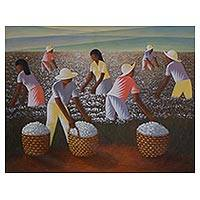 'Harvest of Cotton' (2016) - Signed Multicolor Painting of Farmers in a Cotton Field