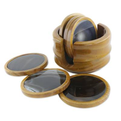 Set of 6 Brown Agate and Cedar Wood Coasters with Stand
