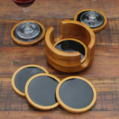 Agate and cedar wood coasters, 'Nocturnal Wisdom' (set of 6) - Set of 6 Black Agate and Cedar Wood Coasters with Stand