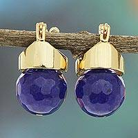 Gold plated agate drop earrings, 'Indigo Acorn' - Faceted Brazilian Agate Drop Earrings Bathed in 18k Gold