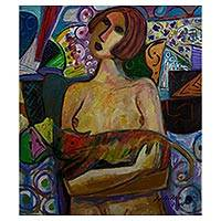 'Nude with Cat' - Colorful Signed Brazilian Painting of a Nude with her Cat