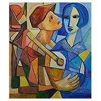 'The Couple III' - Cubist Painting of a Couple in Stained Glass Colors