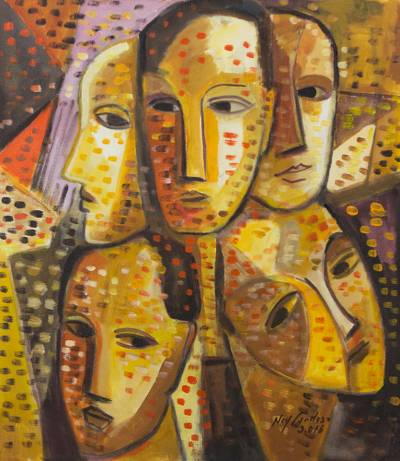 'Friends II' - Brazilian Cubist Portrait Painting in Warm Colors