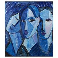 'Faces in Blue' - Original Signed Brazilian Cubist Portrait Painting in Blue