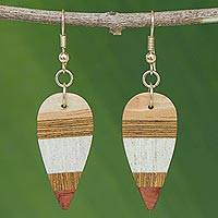 Wood dangle earrings, 'Woodland Leaves' - Striped Wood Dangle Earrings from Brazil