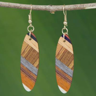 Wood dangle earrings, Forest Excitement