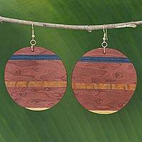 Wood dangle earrings, 'Rugged Beauty' - Handmade Striped Wood Dangle Earrings from Brazil