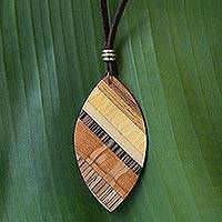 Wood pendant necklace, 'Distinguished Surfer' - Handcrafted Wood Pendant Necklace by Brazilian Artisans