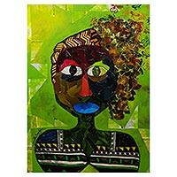 'I am Neguinha' - Signed Cubist Portrait Painting of a Woman from Brazil