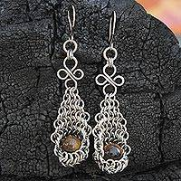 Tiger's eye dangle earrings, 'Treasured' - Tiger's Eye and Stainless Steel Artisan Crafted Earrings