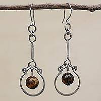 Tiger's eye dangle earrings, 'Balanced Nature' - Tiger's Eye and Stainless Steel Dangle Earrings from Brazil