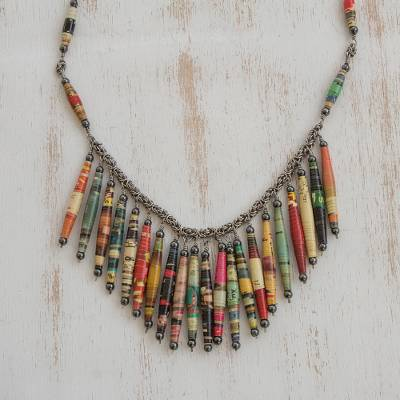 Hematite and recycled paper waterfall necklace, 'Eco Rainbow' - Recycled Paper and Hematite Multi Color Waterfall Necklace