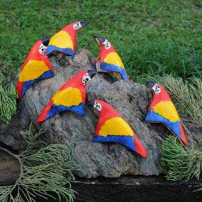 Leather ornaments, Colorful Parrots (set of 6)