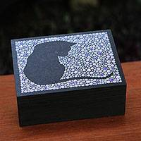 Wood jewelry box, 'Purple Feline Constellation' - Wood Cat-Themed Jewelry Box in Purple from Brazil