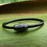 Leather wristband bracelet, 'Sleek Ring' - Leather and Steel Wristband Bracelet from Brazil