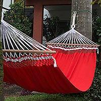 Cotton hammock, 'Crimson Shine' (double) - Handwoven Double Cotton Hammock in Crimson from Brazil