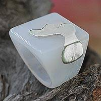 Sterling silver accent agate signet ring, 'Stratospheric Waves' - White Brazilian Agate and Sterling Silver Square Signet Ring