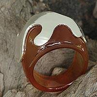 Agate domed ring, 'Symbol of Hope in Brown' - Brown Agate and Sterling Silver Domed Ring from Brazil