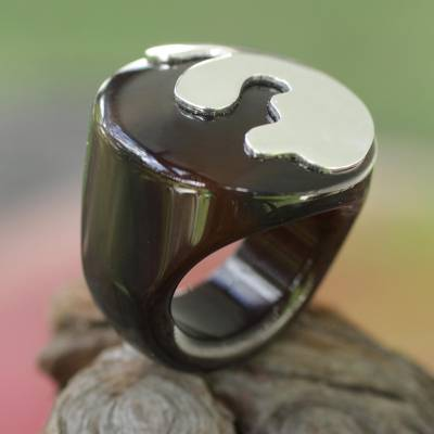 daisy silver ring designs - Brown Agate and Sterling Silver Signet Ring from Brazil