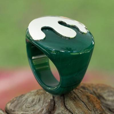 antique silver engagement ring - Green Agate and Sterling Silver Signet Ring from Brazil