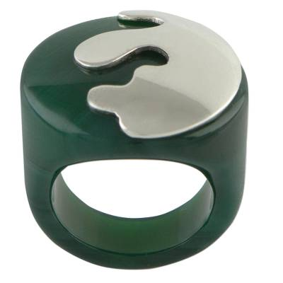 Green Agate and Sterling Silver Signet Ring from Brazil
