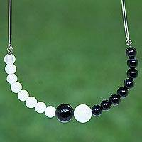 Agate beaded necklace, 'Bold Spheres' - Black and White Agate and Sterling Silver Beaded Necklace